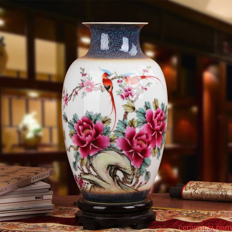 Famous jingdezhen ceramics vase Xia Guoan works upscale color glaze pay-per-tweet peony flower east gourd bottle