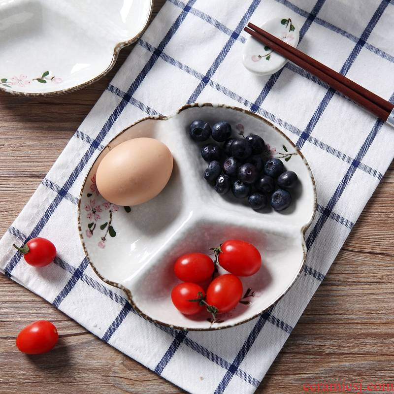 Japanese three tray ceramic tableware frame plate breakfast tray household food plate disk space plate children use individual plates
