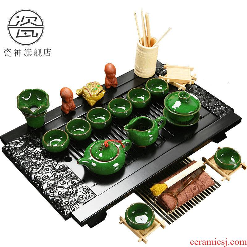 Porcelain god solid wood tea tray of a complete set of kung fu tea set drainage water the draw - out type tea table with beverage holder tray was home