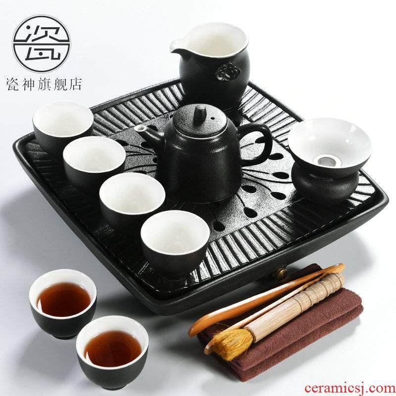 Porcelain household utensils suit god contracted Japanese ceramic cups kung fu tea set dry tea tray of black tea tea taking