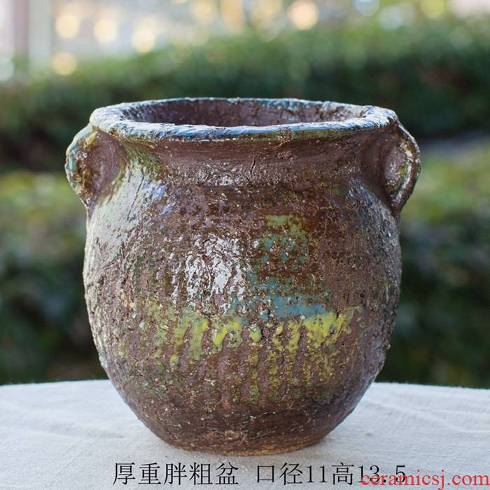 Manual creative large through thick pockets tao old high running style restoring ancient ways the plants more meat flowerpot ceramic wholesale