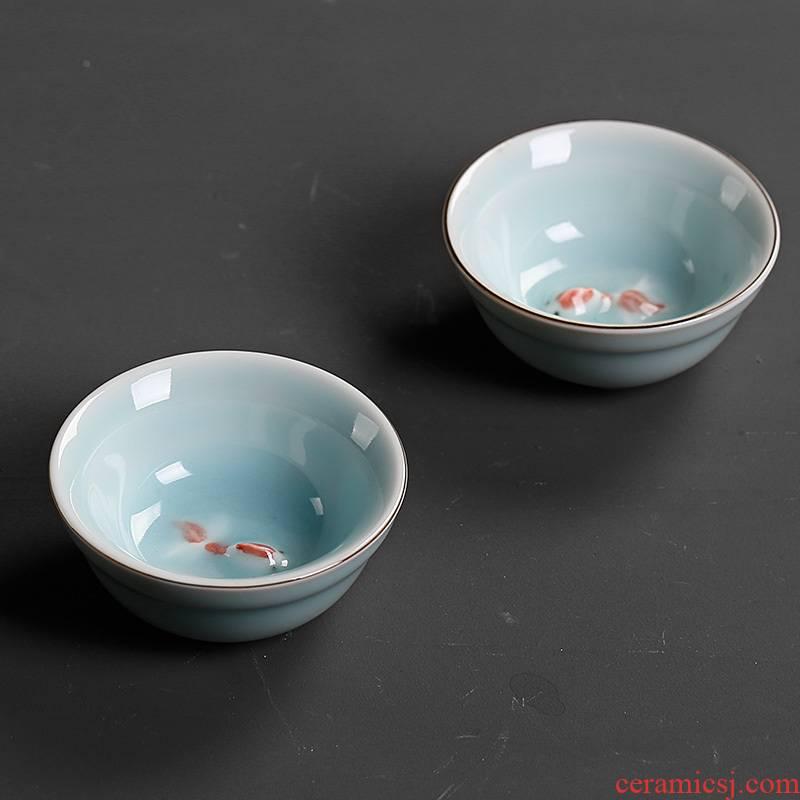 The Sample tea cup celadon fish master cup single CPU ceramic cups kung fu tea ice crack small bowl of household