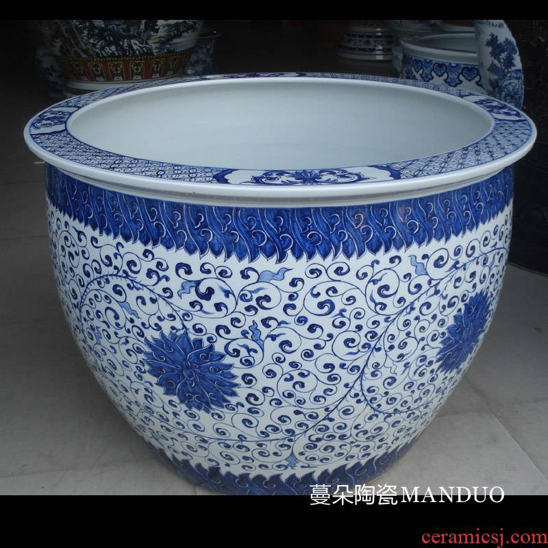 Jingdezhen hand wrapped around large diameter cylinder 80 lotus flower blue and white porcelain, porcelain VAT blue classic fish tank