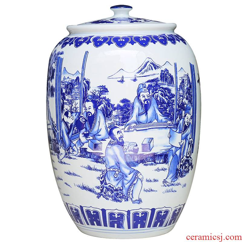 Jingdezhen ceramics large blue and white seal pot sitting room place candy jar household act the role ofing is tasted storage jar of barrel