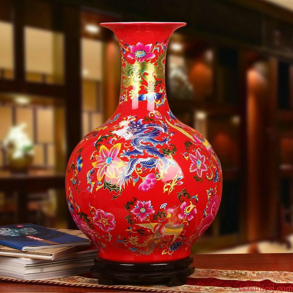 Modern Chinese style red in extremely good fortune China jingdezhen ceramics of large vase wedding anniversary gift furnishing articles