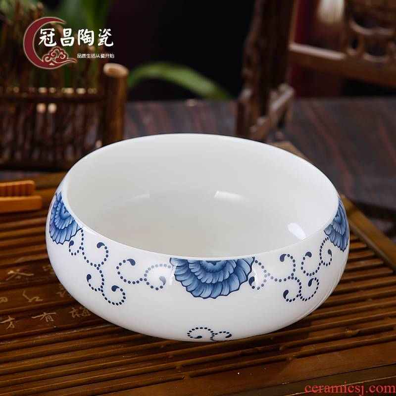 Wash to the crown, jingdezhen ceramic kung fu tea tea accessories from the sea, blue and white series