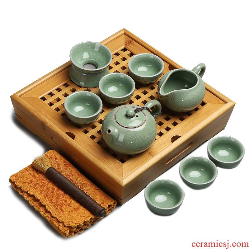 Brother really fill the whole up and exquisite kung fu tea sets tea bamboo tea tray tea sea water suit small family