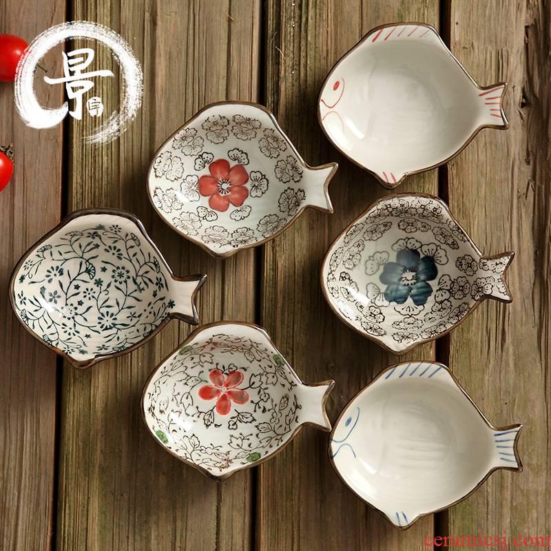 Japanese Korean ideas vinegar dish of soy sauce flavor dish fashion flavor soy sauce dish shape plate ceramic disc