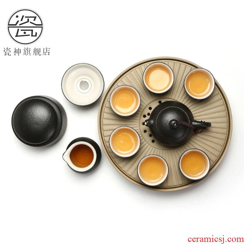 Kung fu tea set Japanese porcelain god contracted office household teapot tea pot small ceramic tea tray of a complete set of suits for