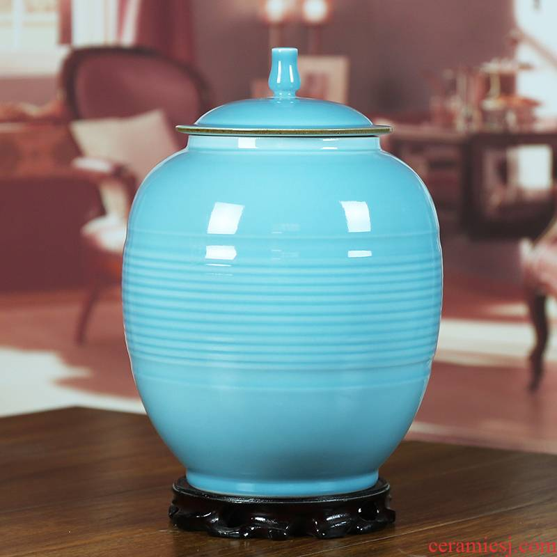 Jingdezhen ceramics shadow celadon storage tank tea pot seal color glaze modern Chinese style household furnishing articles