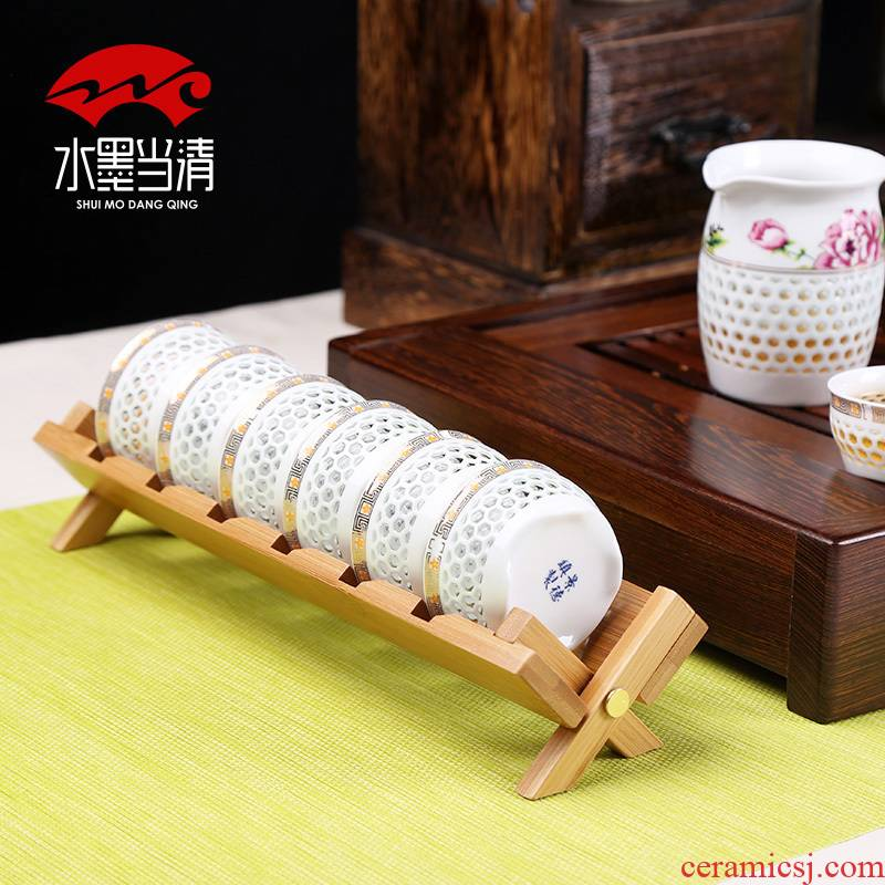 Tea is the Tea taking with zero portable bamboo wood, cool beverage holder cup Tea tray sample Tea cup receive drop furnishing articles