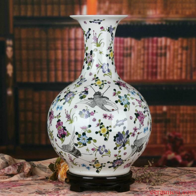 Jingdezhen ceramics noctilucent powder enamel pine crane, prolonging of large vases, creative Chinese style household decorations