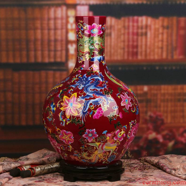 Modern Chinese jingdezhen ceramics mei red in extremely good fortune celestial big vase household living room a study place