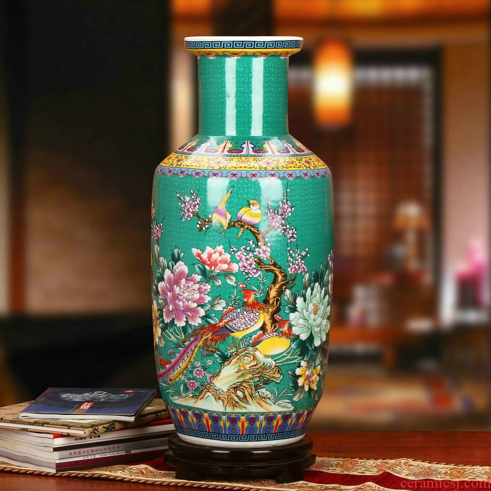Jingdezhen ceramic vase peony flower on the phoenix landing big vase household enamel craft decoration furnishing articles