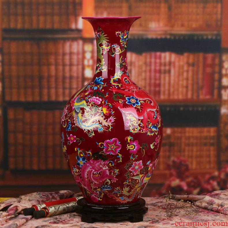 Modern Chinese jingdezhen ceramics mei red in extremely good fortune of large vases, fashionable new homes home furnishing articles