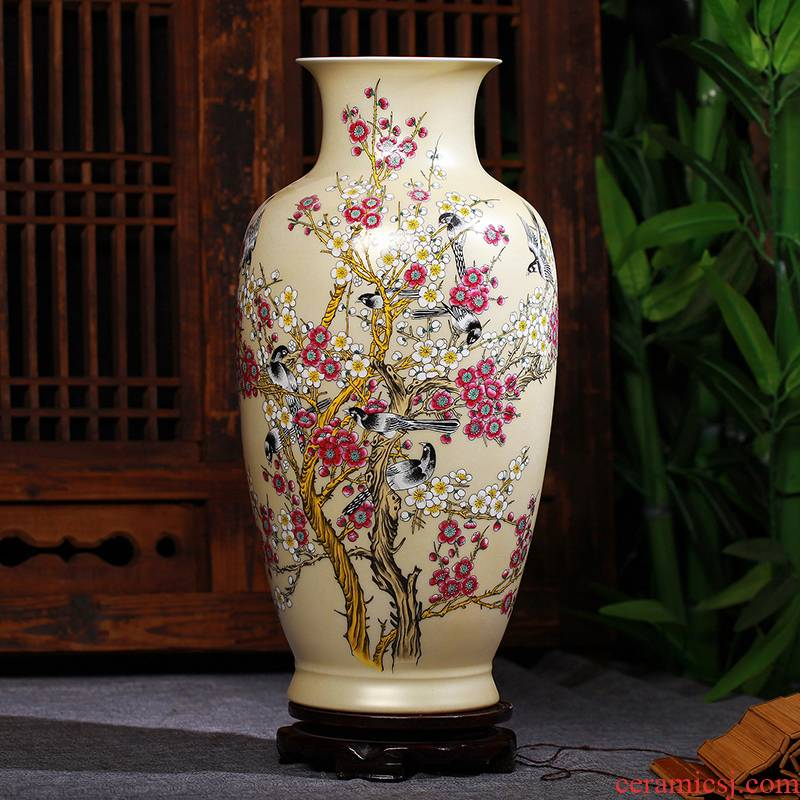 Jingdezhen ceramics gold glaze xi powder enamel vase vase wedding furnishing articles of handicraft of I sitting room