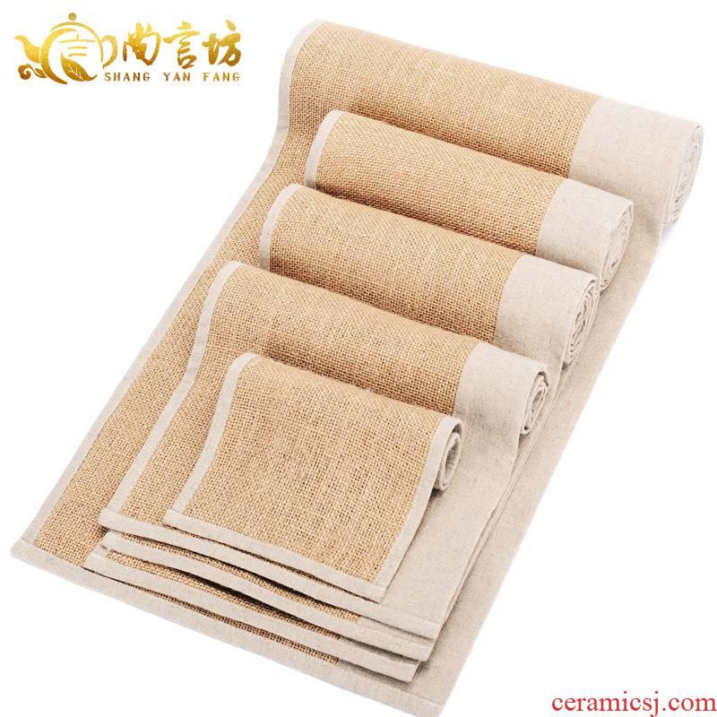 It still lane tow seats zen tea table flag cotton and flax plain teapot cup mat kung fu tea accessories