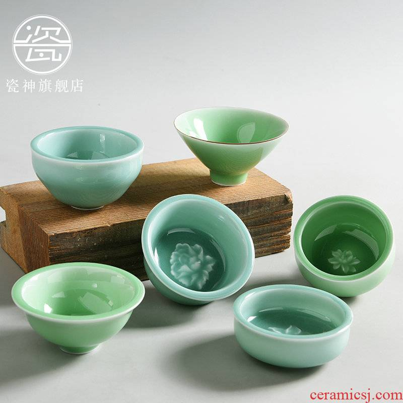 Contracted household celadon porcelain god master sample tea cup cup small bowl ceramic tea set single CPU kung fu tea cups