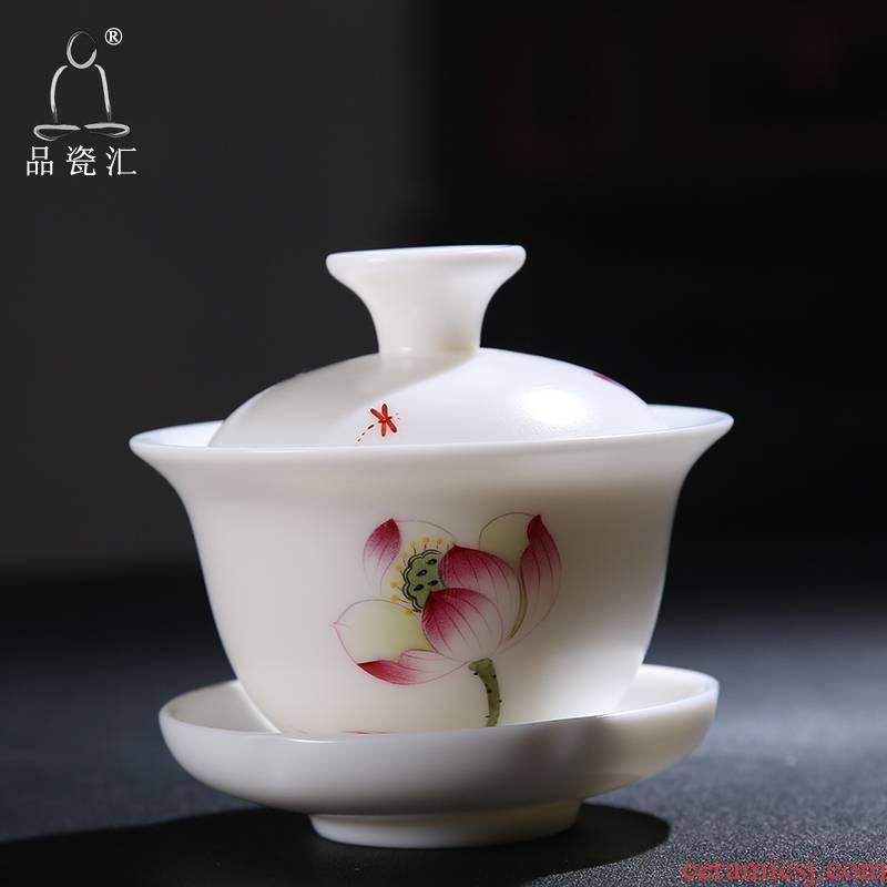 The Product dehua porcelain remit jade built white porcelain lotus rhyme tureen ceramic three mercifully tea tureen tea set