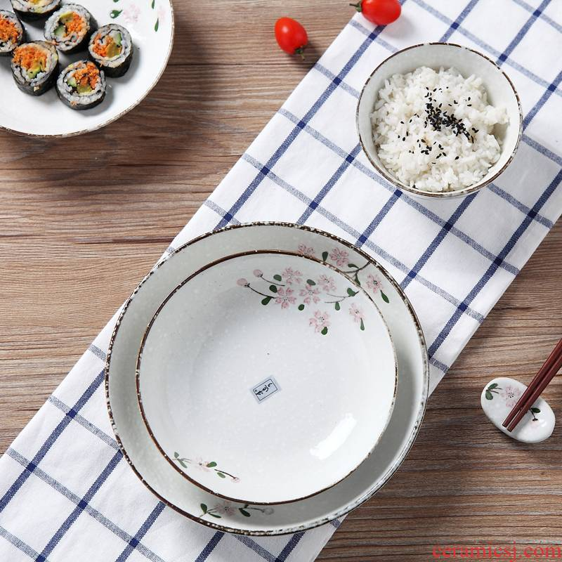 Jingdezhen dish dish dish Japanese household ceramics glaze color creative soup plate under FanPan fruit bowl of 6.5/8 of an inch