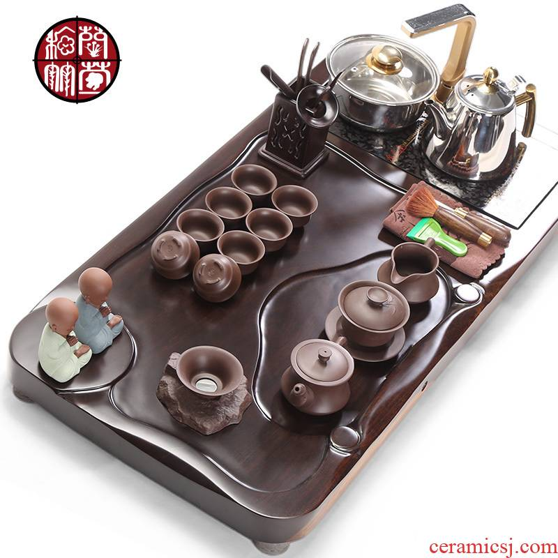 Kung fu tea tray sets electromagnetism one household wooden ceramics, Chinese tea set solid wood, modern office