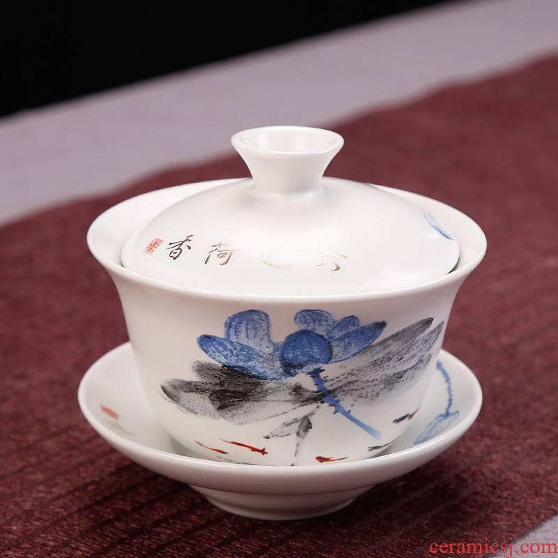 Simple ceramic hand - made tureen to kung fu tea bowl three worship cup tea accessories hand grasp pot home office