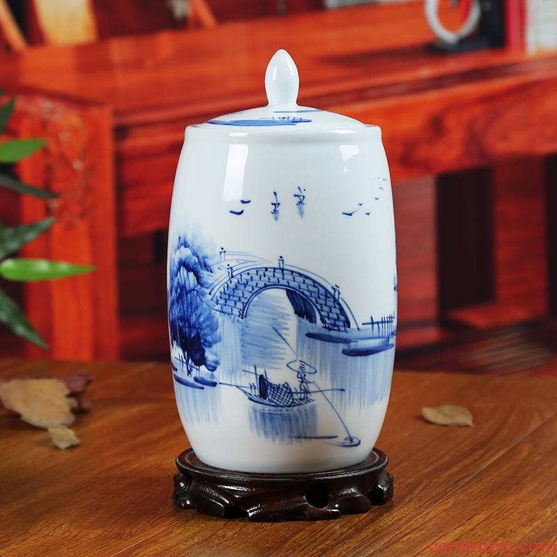 Jingdezhen blue and white ceramics storage tank caddy fixings furnishing articles contracted sitting room adornment of modern household decoration