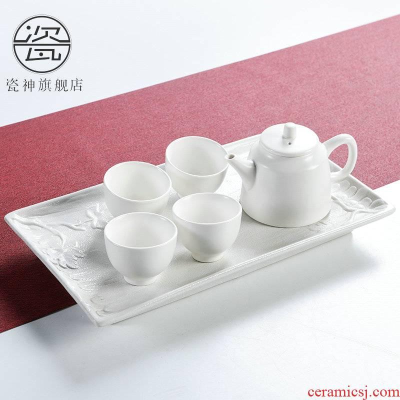 Porcelain ceramic god kung fu tea set small Japanese tea taking tea tray, water drainage type tea table dry tea sea contracted household