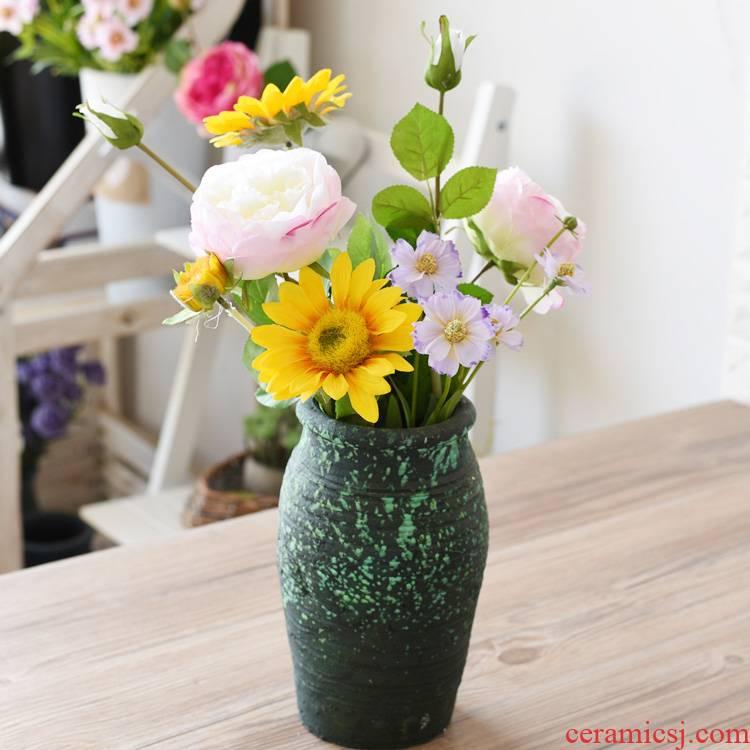 Simulation flowers, roses sitting room table floral arrangements soft adornment manual coarse some ceramic jar jar flower vase