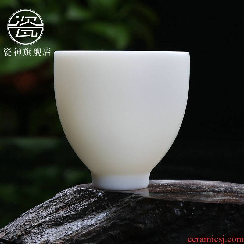 Porcelain god suet white jade Porcelain ceramic cups undressed ore unglazed big sample tea cup single CPU kung fu tea tea masters cup
