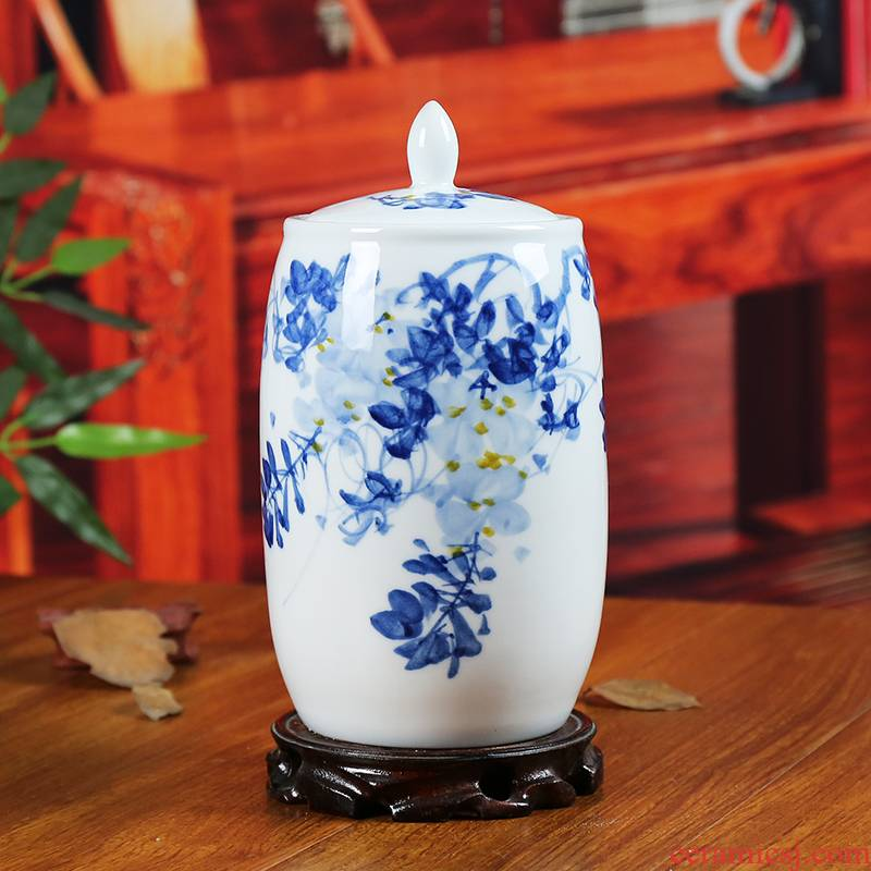 Jingdezhen blue and white ceramics storage tank caddy fixings contracted sitting room adornment of modern household handicraft furnishing articles