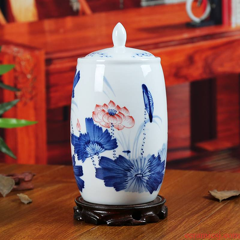 Jingdezhen blue and white ceramics storage tank caddy fixings modern home sitting room adornment handicraft contracted furnishing articles