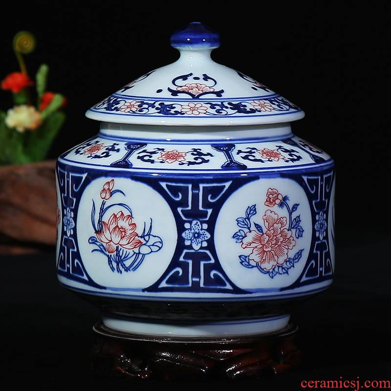 Jingdezhen ceramic youligong storage canister caddy fixings seal can candy as cans sitting room place, household act the role ofing is tasted