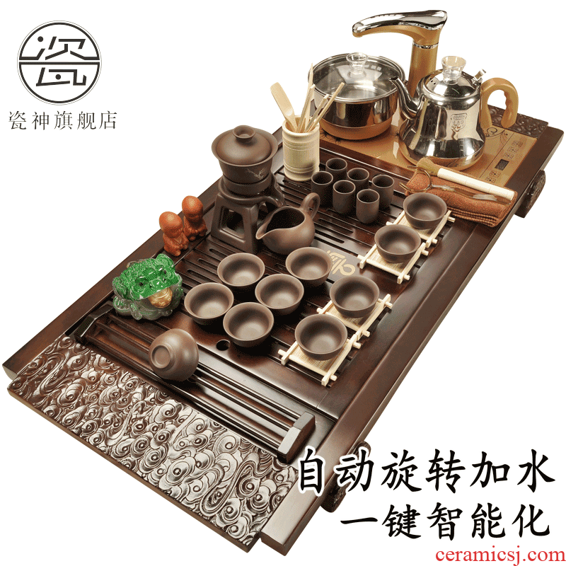 Porcelain automatic violet arenaceous four unity god tea set of household solid wood tea tray was kung fu of a complete set of tea cups of tea
