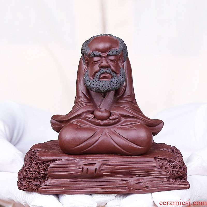 The old monk sitting Buddha tea play pet meditation dharma purple sand tea to tea tray tea tea art furnishing articles office accessories