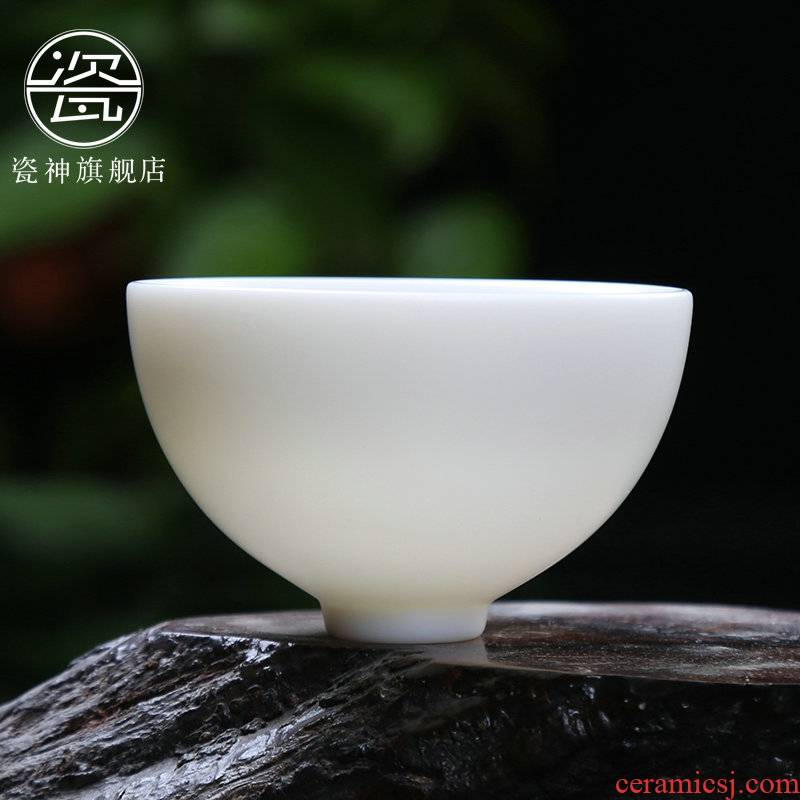 Porcelain god suet white marble manually Porcelain ceramic undressed ore sample tea cup single cup white Porcelain cups kung fu tea masters cup
