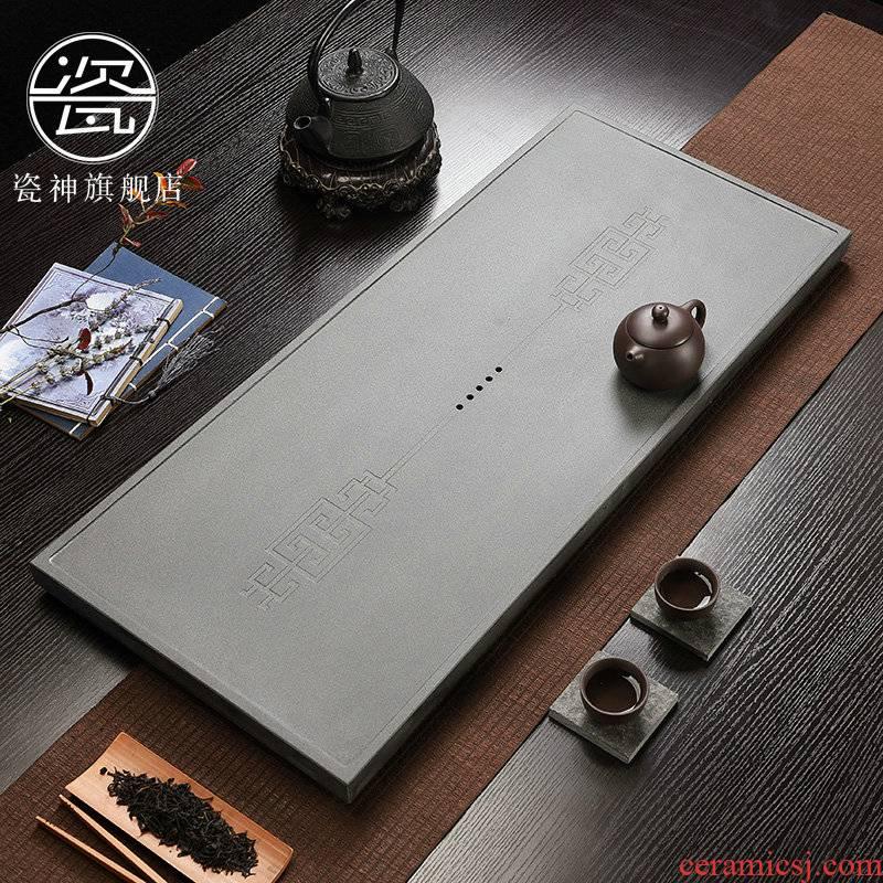 Porcelain god sharply stone tea tray was modern home the whole piece of black stone, stone tea tea large kung fu tea set