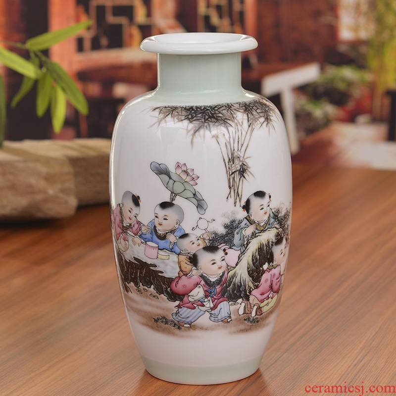 Jingdezhen ceramics powder enamel vase boys baby figure household decoration in modern jewelry crafts are sitting room