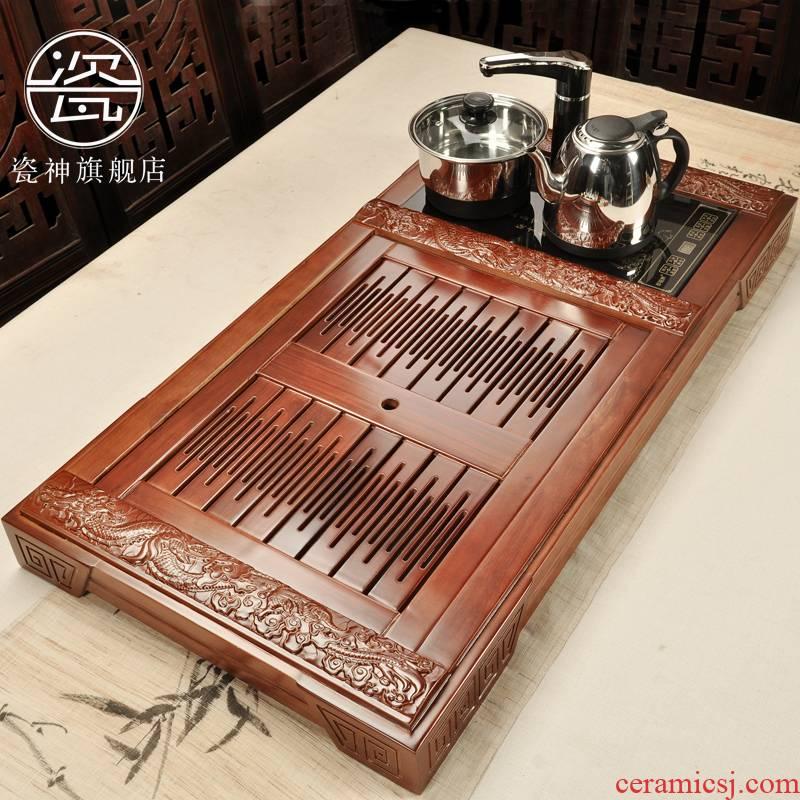 Household porcelain god kung fu tea tea tea sets tea sea ground zero with real wood, bamboo trays induction cooker four unity