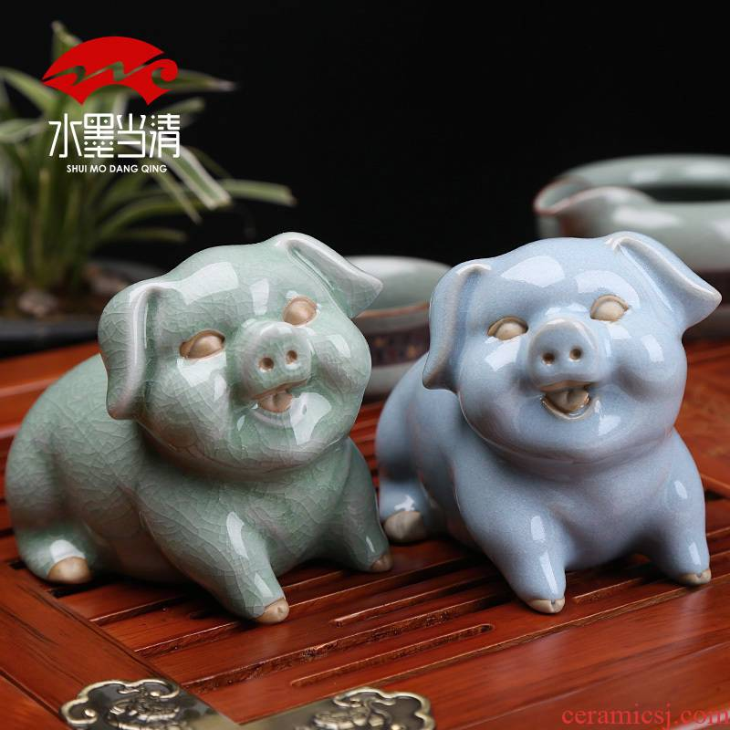 Creative tea pet pig brother up play move open piece of the mythical wild animal kung fu tea tray was furnishing articles tea tea accessories office