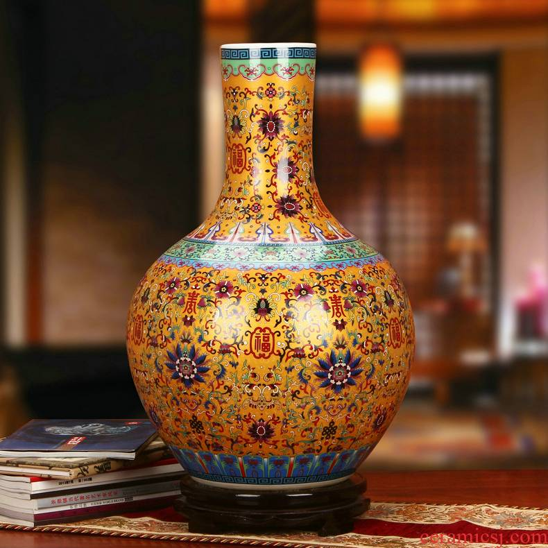 Archaize of jingdezhen ceramics colored enamel porcelain vase local tyrants Jin Fushou Chinese style household ornaments