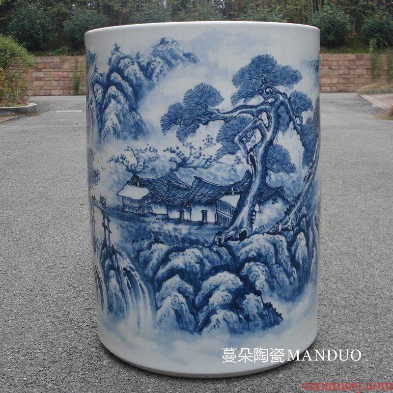 Jingdezhen high - grade painting and calligraphy hand - made porcelain big quiver straight vase sitting room style decoration vase