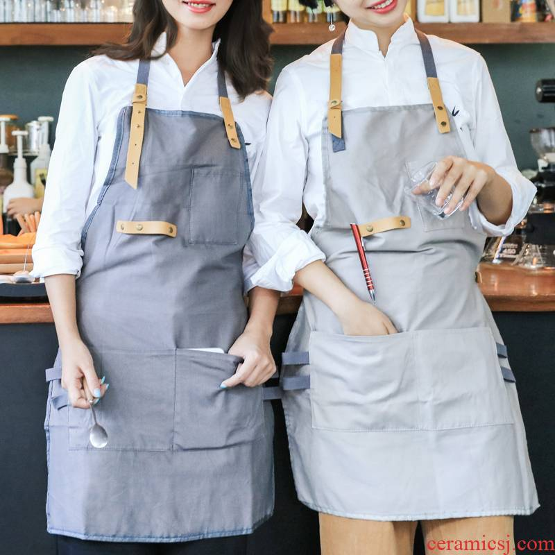 "Japanese cotton and linen contracted apron cafe restaurant milk tea shop for the Korean adults overalls ""women"