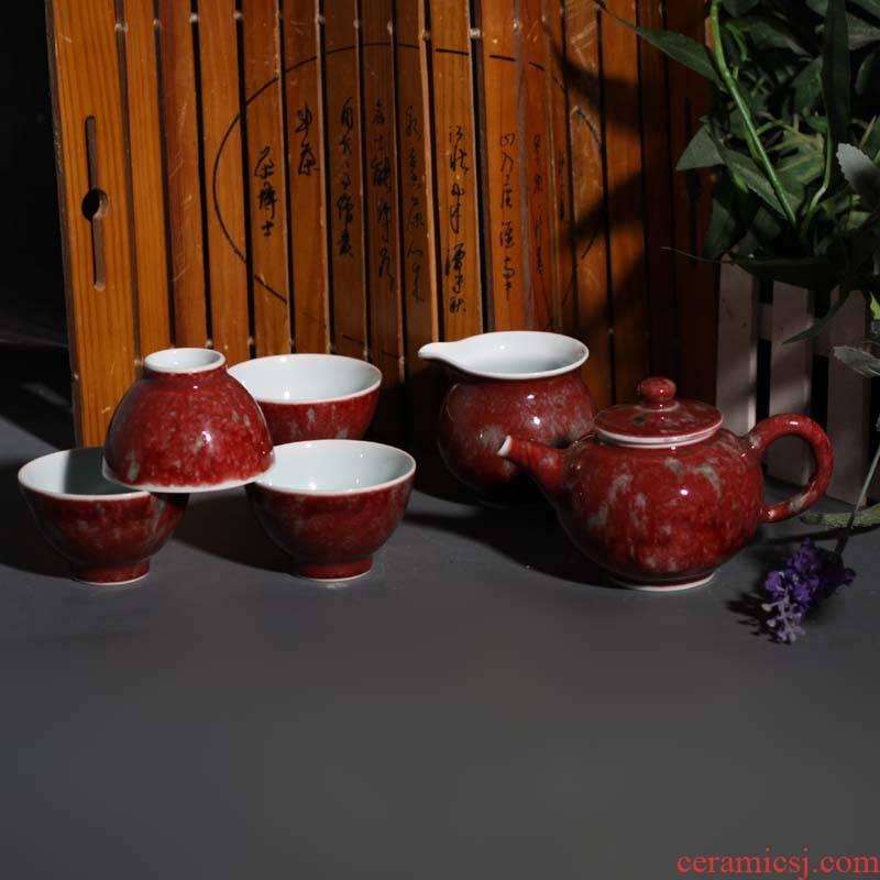 Jingdezhen imitation kangxi beauties drunk monochrome variable cowpea red tea sets five pieces of tea set