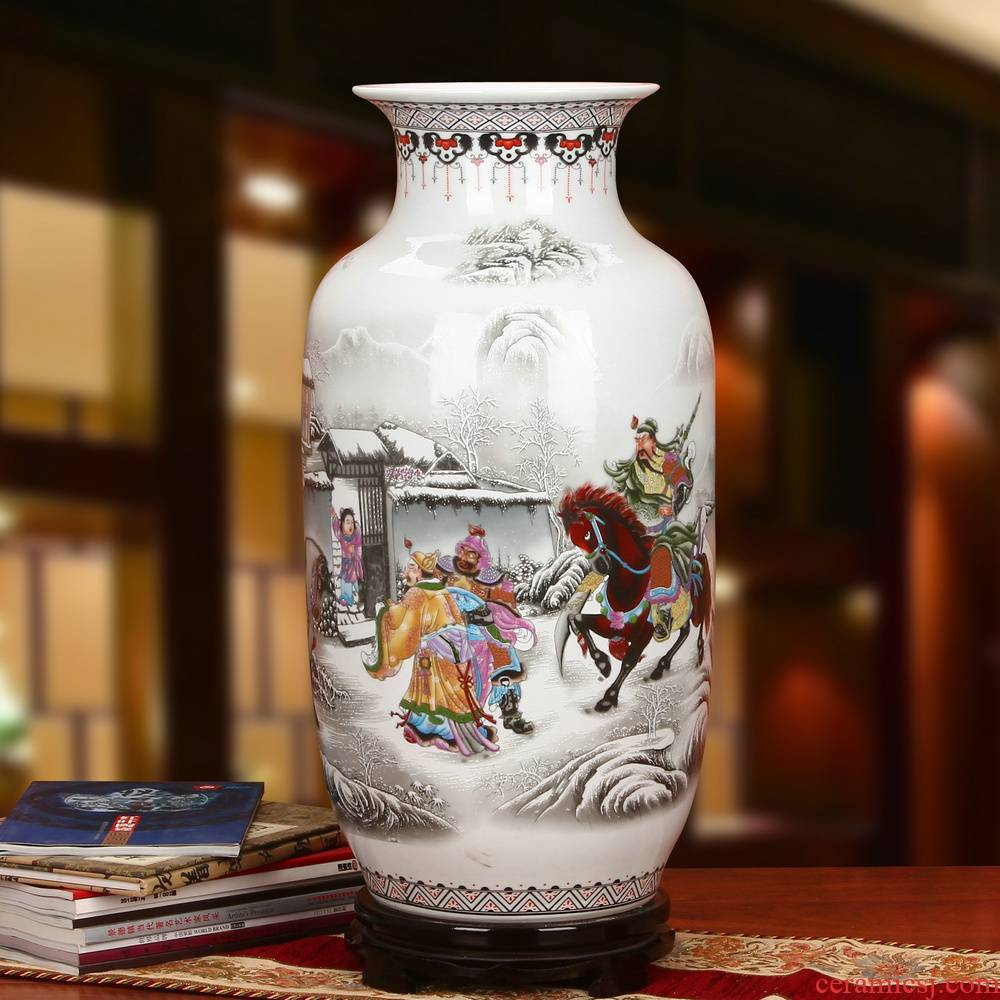 Jingdezhen ceramics powder enamel of three Chinese style household crafts are the three characters of large vase