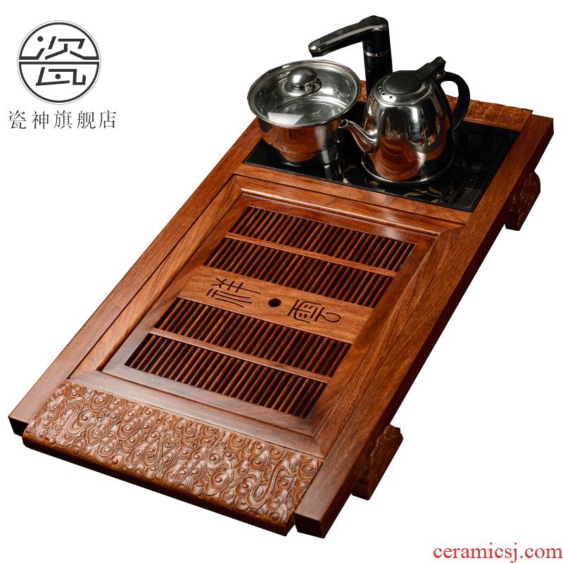 Porcelain carved wenge god hua limu tea tray household utensils of a complete set of induction cooker four unity tea sets tea saucer