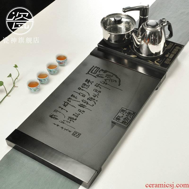 Porcelain god sharply stone tea tray induction cooker black tea saucer large stone inscriptions sea tea set four unity of tea set