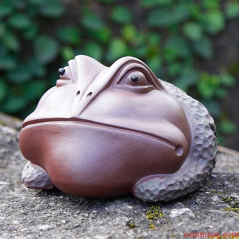 Tea play purple sand Tea pet toad treasure Tea tray manually office furnishing articles creative Tea accessories accessories move can keep at home
