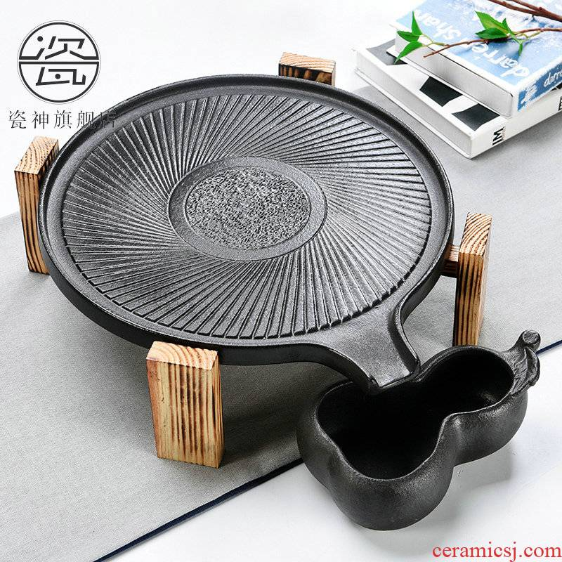 Porcelain god contracted Japanese tea taking household utensils suit real wood double stone mill ceramic cups tea tray tea tea