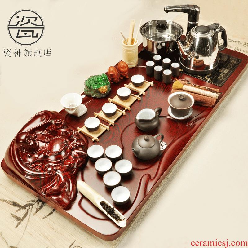 Household porcelain god kung fu tea set with a set of solid wood tea tray was purple sand tea mixture sea electric magnetic furnace tea table